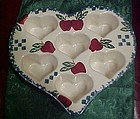 Chapparel pottery heart shape muffin pan with apples