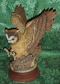 Large life like porcelain owl figurine