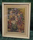 Vintage print of flowers and vase framed and matted