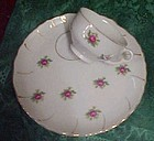 Vintage china snack service, with tiny pink roses
