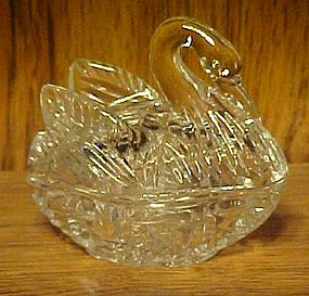 Clear glass swan covered dish