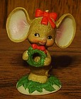 Lefton big earred Christmas mouse  with wreath figurine