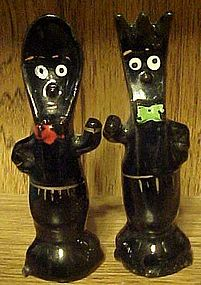 Vintage black anthropomorphic fork and spoon shakers