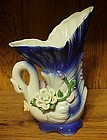 Pretty porcelain swan vase cobalt with applied flowers
