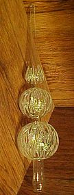 Vintage clear  blown glass glittered sphere tree topper