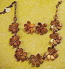 Vintage copper flower necklace and  clip earrings