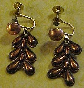 Vintage copper screw back earrings