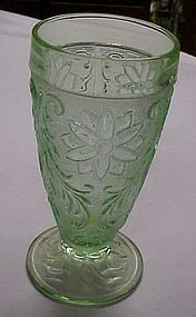 Tiara chantilly green sandwich glass iced tea tumbler