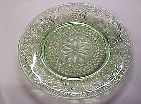 Tiara Chantilly green sandwich glass salad plate 8 3/8""