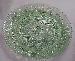 Tiara chantily green sandwich glass round platter 12.25