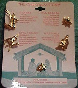 Set of The Christmas Story pins goldtone birth of Jesus