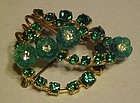 Vintage Austria  emerald green rhinestone pin  3-d