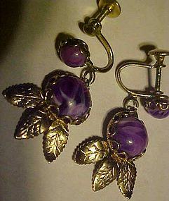 Vintage  silver tone purple marbled dangle earrings