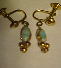 Vintage screw back earrings with opal style marquis