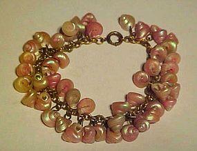 Vintage copper chain bracelet  over 50 pink seashells
