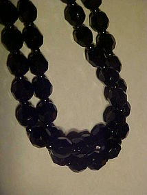 Old Germany double strand jet black glass bead necklace