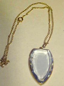 Vintage blue topaz color pendant on chain