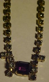 Vintage all rhinestone choker necklace purple stone