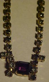 Vintage all rhinestone choker necklace purple stone
