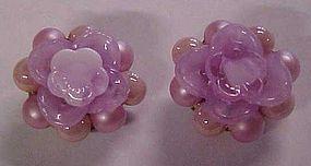 Vintage lavender cluster button  clip earings