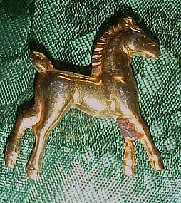 Vintage brass tone metal pony pin