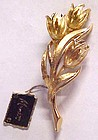 Vintage Monet 3 Tulips gold tone pin with original tag
