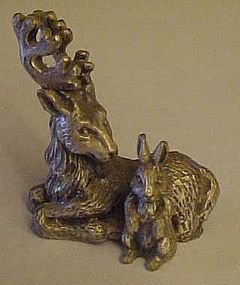 Miniature pewter figurine of buck deer and rabbit