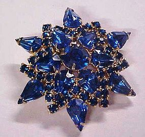 Beautiful large blue rhinestone  snowflake pin brooch