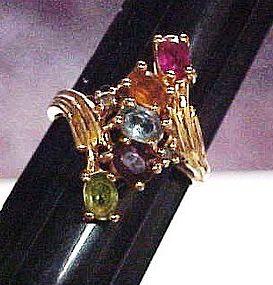 Multi color  NV rhinestone ring gold tone size10