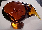 Hokitika Glass New Zealand Kiwi bird paperweight