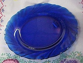 Duralex France cobalt swirl glass salad plate
