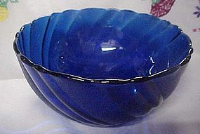 Duralex France cobalt blue swirl cereal soup bowl