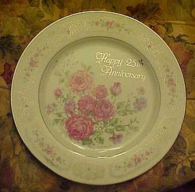 Beautiful Enesco 25th anniversary plate Betty Whiteaker