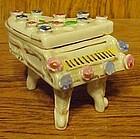 Vintage porcelain piano trinket box w/ applied flowers