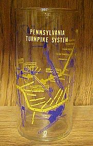 Vintage Pennsylvania Turnpike System map souvenir glass