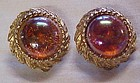 Vintage gold tone clip earrings, carnival color cabs