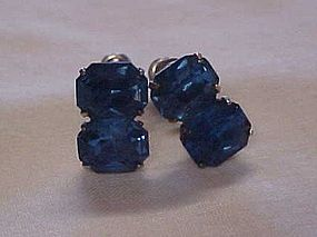 Vintage sapphire blue emerald cut rhinestone earrings