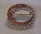 Double loop gold and clear all rhinestone pin