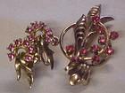 Vintage pink rhinestone pin and earrings set