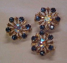 Vintage blue rhinestone scatter pin set