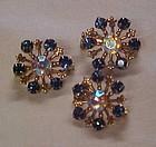 Vintage blue rhinestone scatter pin set