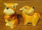Vintage schnauzer terrier dog salt  n pepper shakers