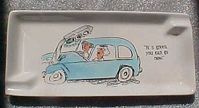 Vintage comic humor ashtray with women drivers