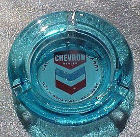 Vintage Chevron dealer blue glass ashtray gas & oil