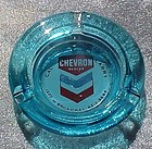 Vintage Chevron dealer blue glass ashtray gas & oil