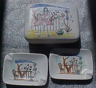 Lefton cigarette box & ashtray set Paris in the spring