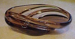 Hand blown brown art glass bowl polished bottom
