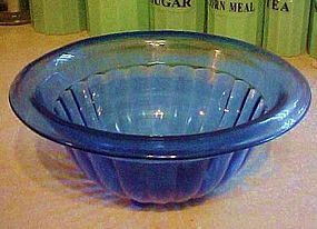 Hazel Atlas cobalt blue ribbed mixing bowl 9 1/2""