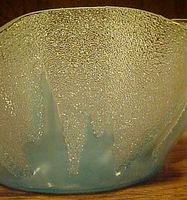 Vintage 50's lt blue handkerchief bowl with icy relief