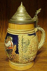 Vintage Germany beer stein pewter top 3063